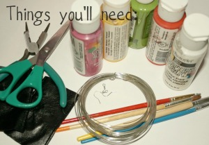 You'll need paint, brushes, wire, earring hooks, scissors, needle-nose pliers, and  fabric.