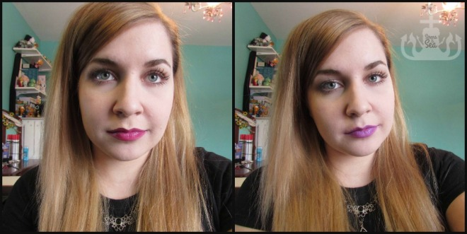 First picture is Too Faced Melted Fuchsia over MAC Nightmoth Liner. Second picture is OCC Lip Tar in Hoochie