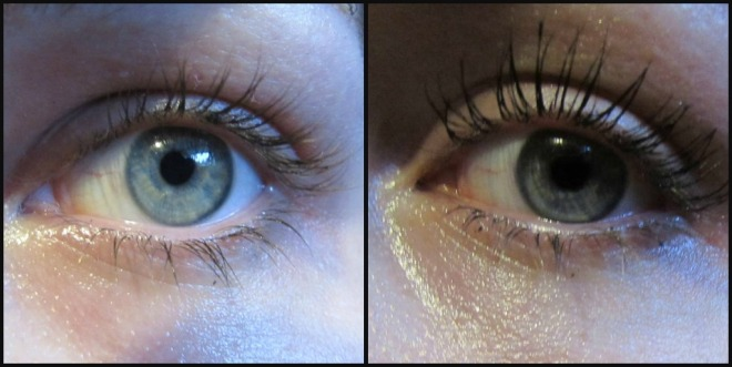 Left without mascara, right with mascara.